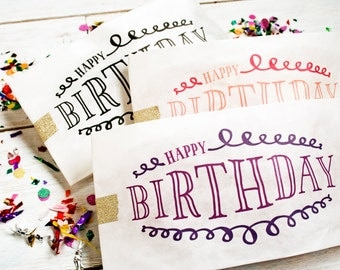 Happy Birthday Favor Bags - perfect for Popcorn or Candy  - Popcorn Swirl Design - 25 Tall White Favor Bags in each Pack
