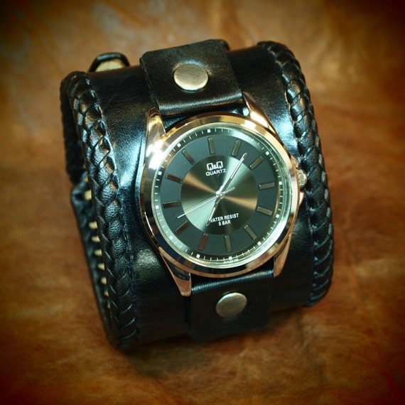 Leather cuff watch Black vintage style wide bracelet Best quality Made for YOU in NYC by Freddie Matara!