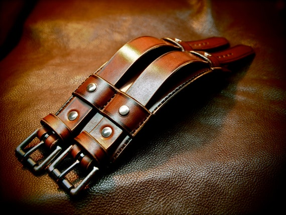 "Leather cuff Bracelet Brown leather wristband 3"" wide Custom made for YOU in NYC by Freddie Matara"