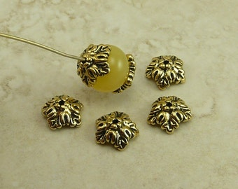 4 TierraCast 10mm Oak Leaf Bead Caps > Leaves Fall Autumn Tree Spring - 22kt Gold Plated Lead Free Pewter - I ship Internationally 5579