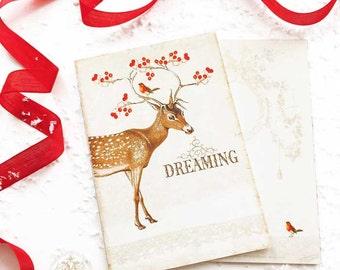 Deer, Christmas cards, dreaming, reindeer, antlers, red berries, robin, Christmas postcard, vintage style, woodland, snow, holiday card