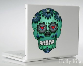 Green Blue Sugar Skull Decal - Dia de los Muertos  - Day of the Dead Vinyl Sticker