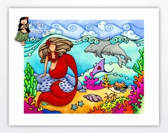 Mermaid and Dolphin, Painting Decor Art Print Artwork Red Tail, Under the Sea, Underwater Ocean Wall Hanging Colorful Beach Artwork Girl Sky