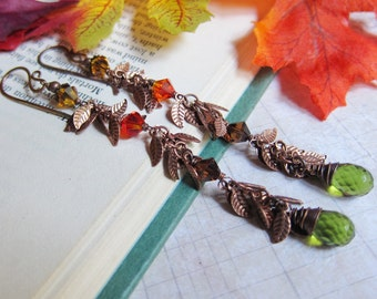 A Kiss of Autumn 2015 - Dangly Leaf and Green Hydro Quartz Earrings in Copper