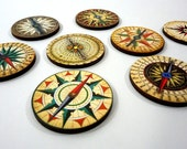 Vintage Wooden Compass Collection - 8 Wooden Craft Parts