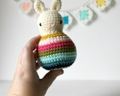 roly poly rabbit blossom .. baby rattle, toddler rattle, rabbit toy bunny amigurumi crochet