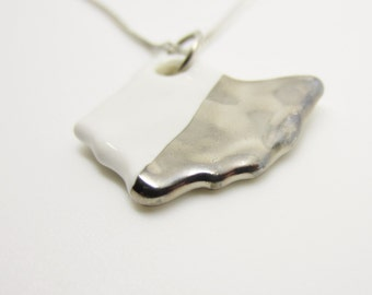 Silver Metallic Half Dipped Ohio Necklace Glazed Ceramic on an 18 inch Silver Chain