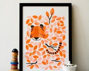 Hidden Tiger - A3 RISO print