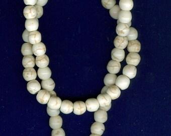 6mm Magnesite Howlite Cream White Beads - Full Strand