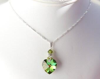 Brilliant Swarovski Heart Charm Sterling Silver Necklace