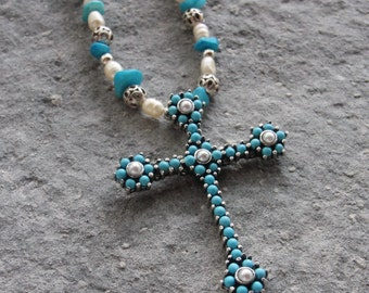 Turquoise Pearl Cross Necklace Sterling Silver Rosary jewelry