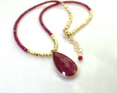 AAA Raspberry RUBY Focal Pendant, Ruby Strand Lariat necklace in 14kg fill...
