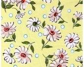 HALF YARD Yuwa - Pink Daisies and Blue Dots on Butter YELLOW - Suzuko Koseki - Pink Polka Dots and Flowers - Japanese Import Fabric