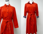CAN'T STOP DANCING . red corduroy long sleeve dress . large