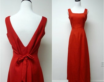LIZETTE . red low back / tie back . long dress . size 6 . made in USA