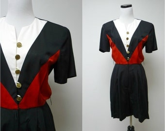 JSJ . 1980s  red white and black romper . size 6P