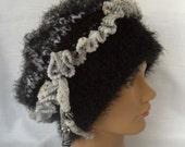 Black White Gray Boho Ruffle Hat Beaded Fringe