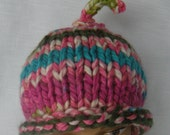 Chunky Knit Hat Pink Teal Lime Beanie