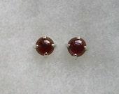 6mm Red Garnet Gemstone Cabochons in 925 Sterling Silver Stud Earrings