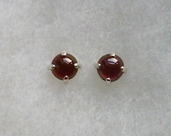 6mm Red Garnet Gemstone Cabochons in 925 Sterling Silver Stud Earrings