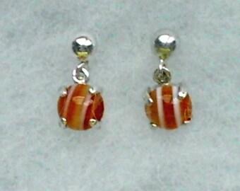6mm Lace Agate Cabochon Gemstones in 925 Sterling Silver Dangle Earrings