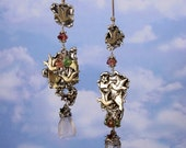 BIRDS Of A FEATHER - OOAK One Of A Kind - Sterling Silver Earrings With Brass Birds, Watermelon Tourmaline, Rose Quartz