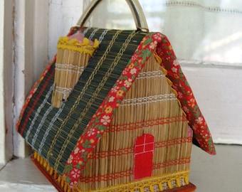 Vintage Wooden Cottage Kawaii House Purse Box Handbag