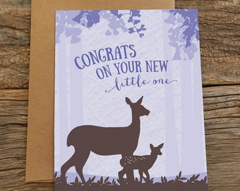 new baby card / doe and fawn