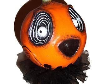 Jack O Lantern -  Creepy Pumpkin Halloween Horror Gothic Handmade Folk Art Primitive Doll Decoration