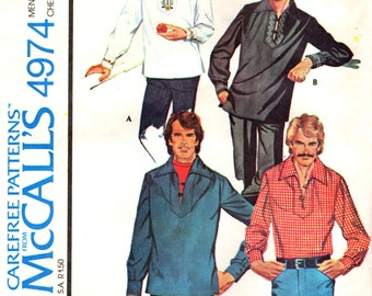 McCall's 4974 Men's Pullover Shirt EMBROIDERY TRANSFER ©1976