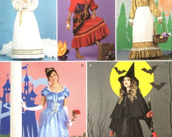 Simplicity 2847 ANDREA SCHEWE Variety of 5 Costume Patterns Adult Sizes ©2008 Angel, Gypsy, Cinderella, Witch, Prairie Pioneer