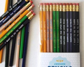 12 Traveler Engraved Pencil Pack, great gift for travelers, gifts for teachers, wanderlust, explore, stocking stuffer