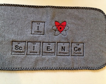 Ready to Ship GRAY SCARF I Love ( heart ) ScIENCe Chemistry Science Geek