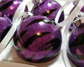 Animal Print Ornaments, Rocker Chic Zebra Ornaments, Glass Christmas Balls, Purple Zebra Glitter Ornaments, Glass Christmas Ornaments, Gifts
