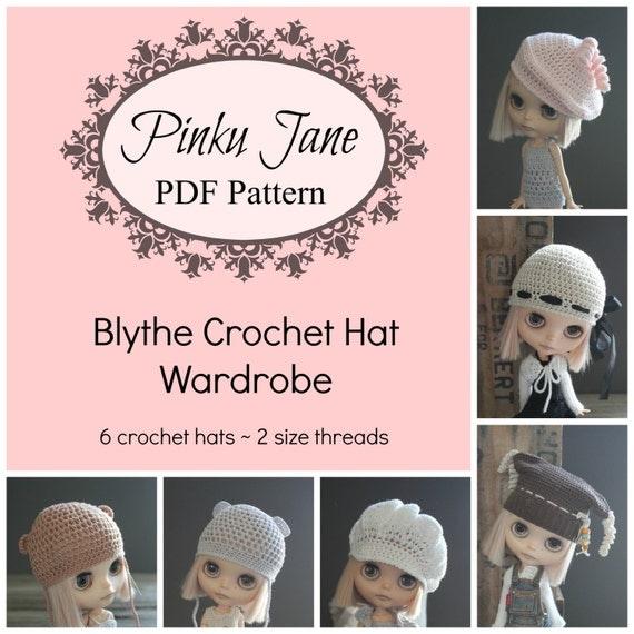 Crochet Hat Pattern For Blythe : Blythe Crochet Hat Wardrobe Pattern eBook 6 Patterns by ...