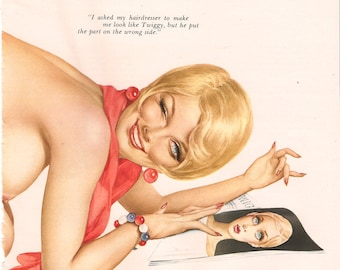 Vintage Vargas Pin-Up Girl-Playboy60s-Original Tear Out-No Repro 8x11-Gatefold