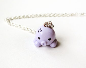 Pastel Purple Octopus Charm Necklace Polymer Clay Jewelry