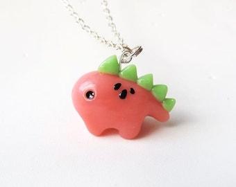 Watermelon Stegosaurus Dinosaur Necklace - Polymer Clay Charm
