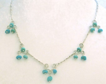 Delicate Silver and Turquoise necklace