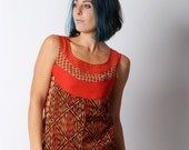 Red womens top, Sleeveless patchwork top in red and orange prints, vintage fabrics - sz UK 10