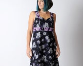 Black floral dress, grey and purple floral dress with empire waist, Black womens dress, Floral cotton dress, Sleeveless cotton dress