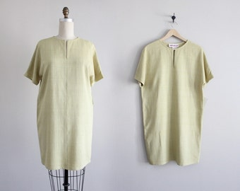 silk & linen tunic dress | pale chartreuse dress | linen dress