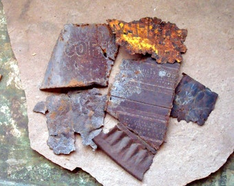 Rusty Flat Metal Textured Printed Pieces Found Objects for Assemblage, Altered Art or Sculpture - Industrial Salvage
