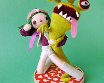 Print: Kapaw! - Super-Sentai needlefelting sculpture art toy felt plush photo wall decor kaiju Japan doll green girl