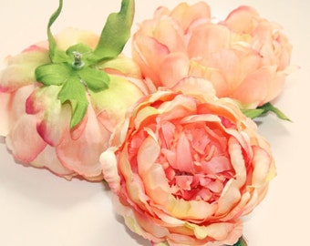 Shabby Chic Peony in Coral and Pink -- 4 inches -artificial flower - ITEM 0713