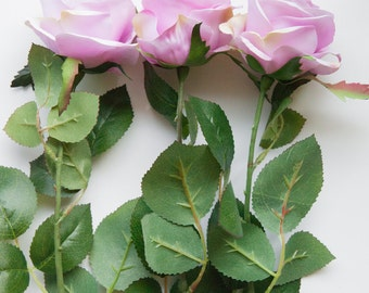 Perfectly Bloomed Rose in LAVENDER on 27 inch Stem - Silk Artificial Flowers, Silk Artificial Roses - ITEM 0785