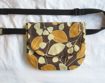 Into The Wind // Brown, Orange and Cream Fall Leaves Pattern Belt Bag with adjustable strap