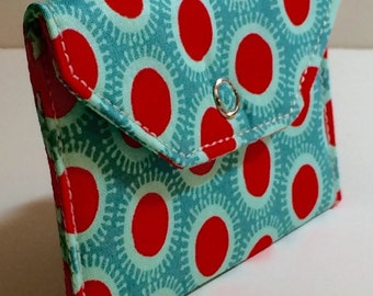 Card Pocket - Turquoise & Red Polka Dots - Business Cards - Holder - Wallet - Gift - Holiday - Christmas