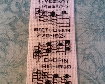 Important Musician Dates / Hand Embroidered Bookmark