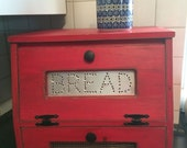 Wood Bread Box Vegetable Bin wooden Punched Tin Antiqued Rustic Red Storage Primitive Cupboard Onion Potatoes Country Kitchen